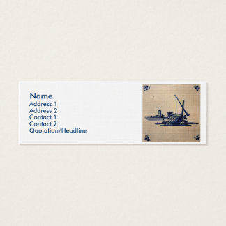 Classic Antiquarian Delft Blue Tile - Water Well Mini Business Card