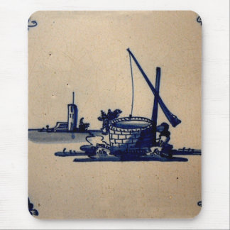 Classic Antiquarian Delft Blue Tile - Water Well Mouse Pad