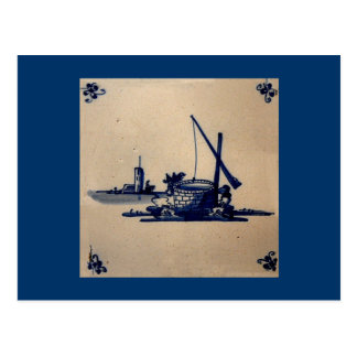 Classic Antiquarian Delft Blue Tile - Water Well Postcard