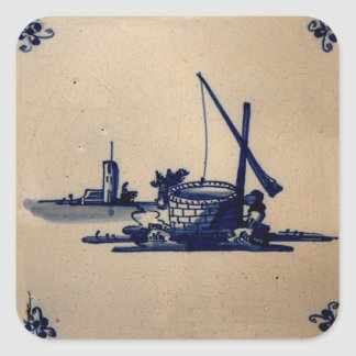 Classic Antiquarian Delft Blue Tile - Water Well Square Sticker