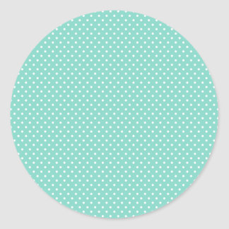 Classic Aqua and White Polka Dot Stickers