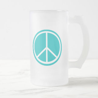 Classic Aqua Blue Peace Sign Frosted Glass Beer Mug