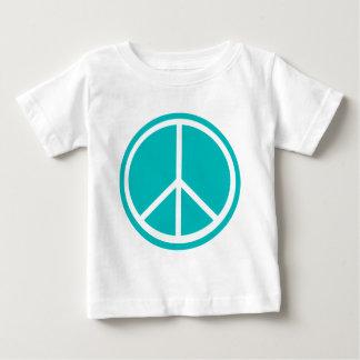 Classic Aqua Blue Peace Sign Tee Shirts