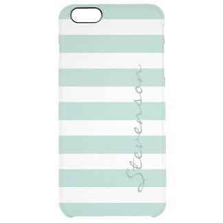 Classic Aqua Mint Stripe Pattern Personalized Name Clear iPhone 6 Plus Case