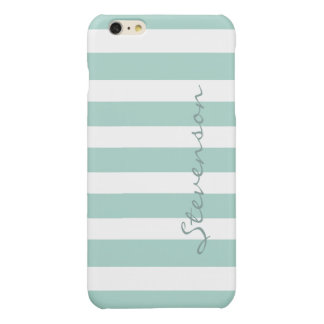 Classic Aqua Mint Stripes Pattern Monogrammed Glossy iPhone 6 Plus Case