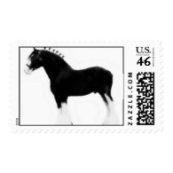 classic art clydesdale horse stamp