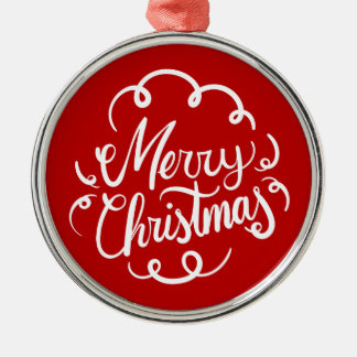 Classic Art Deco Merry Christmas Typography Round Metal Christmas Ornament