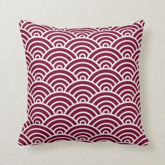 Classic Art Deco Scales in Cranberry and White Throw Pillow
