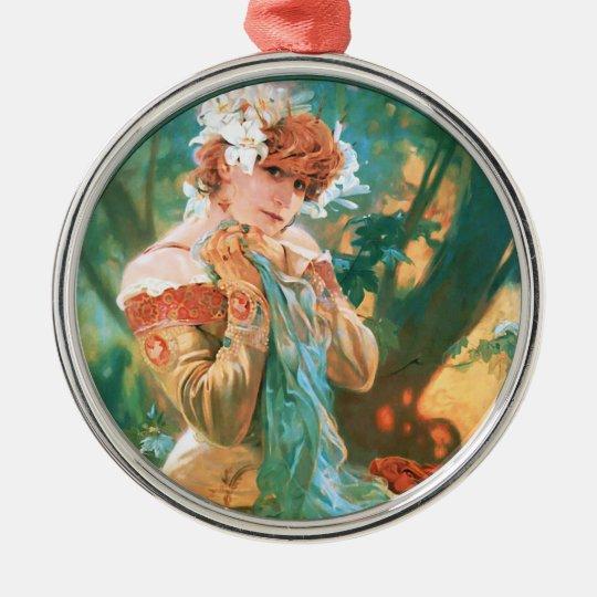 Classic Art Nouveau ~ Alphonse Mucha Metal Ornament