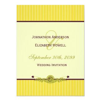 Classic Art Nouveau Yellow and Dark Purple Wedding Card