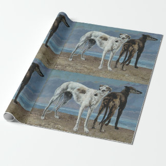 Classic art of two greyhounds wrapping paper