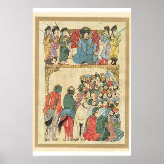 Classic Asian Art Islamic preacher in mosque Print