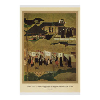 Classic Asian Art Jack roof building and people Print