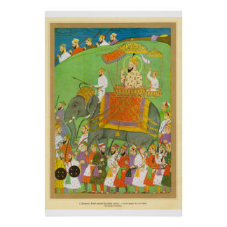 Classic Asian Art Mughal Emperor Bader  17th cent. Poster