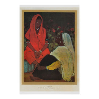 Classic Asian Art Pakistan, girl with servant Poster