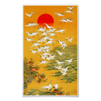 Classic Asian Style Flying Cranes Painting Poster