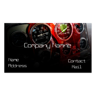 Classic automotive speed gauge in red business card