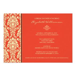 Classic Baroque Bridal Shower Invitation coral
