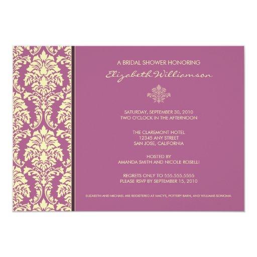 Classic baroque bridal shower invitation lilac zazzle for Classic bridal shower invitations