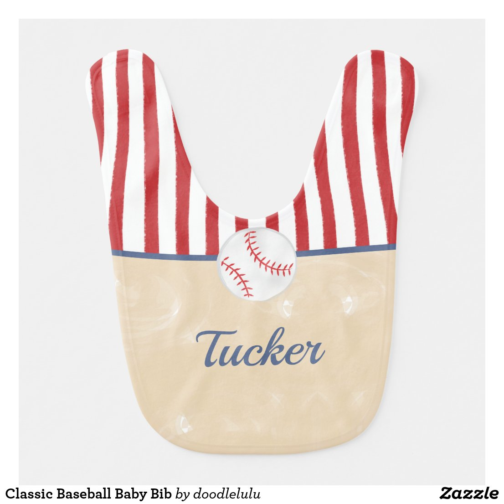 Classic Baseball Baby Bib