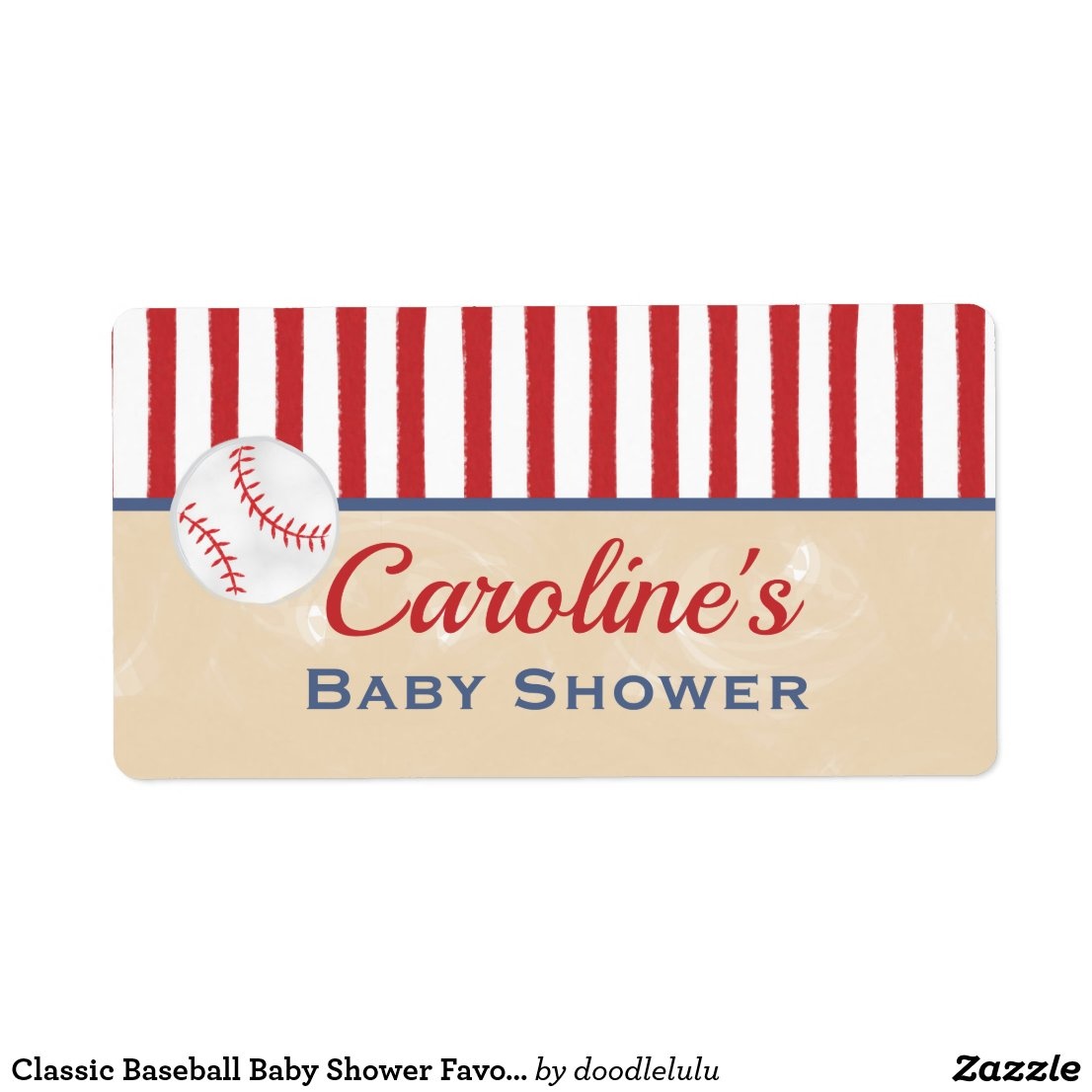 Classic Baseball Baby Shower Favor Label