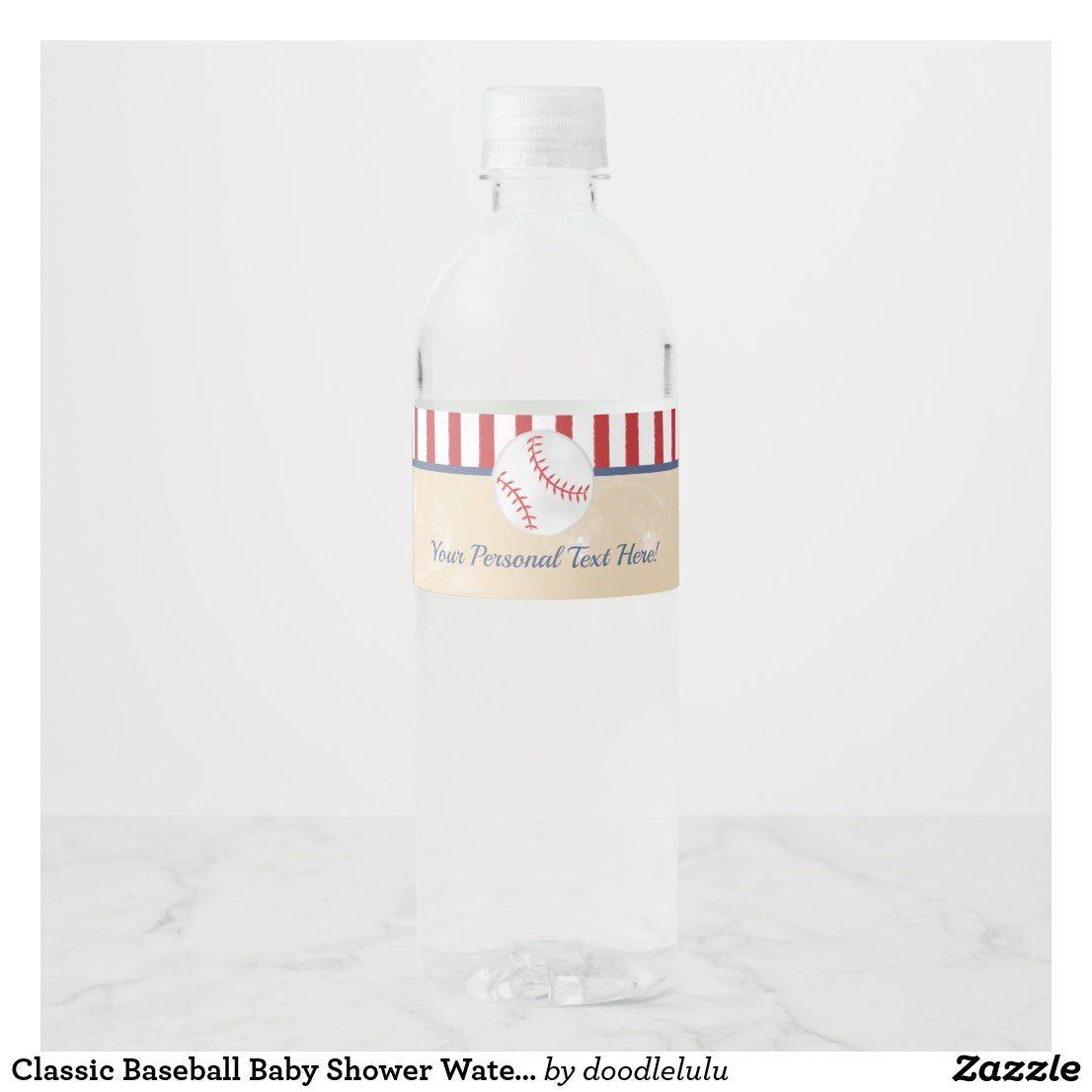 Classic Baseball Baby Shower Water Bottle Label