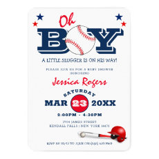 Classic Baseball Oh Boy Baby Shower Invitation