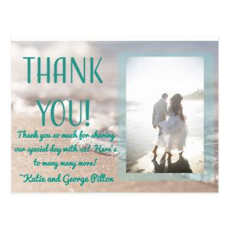 Classic Beach Wedding Thank You Postcard