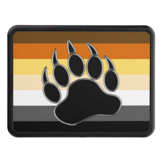 Classic Bear Pride Flag and Bear Paw Tow Hitch Cover
