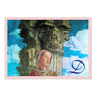 CLASSIC BEAUTY MONOGRAM bright antique blue pink Card