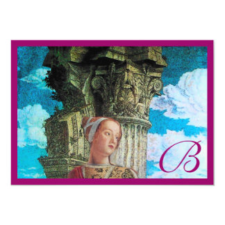 CLASSIC BEAUTY MONOGRAM bright antique blue purple Card