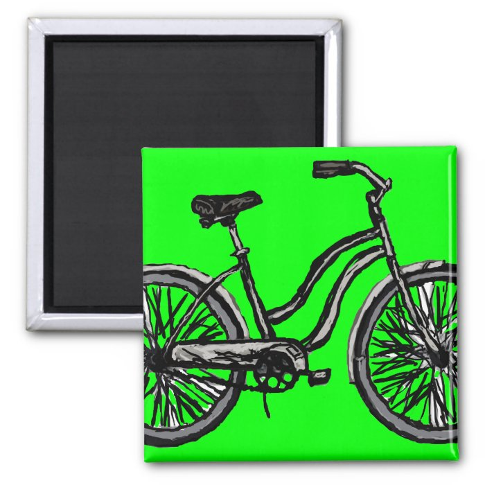 Classic Bicycle, Line Drawing Products 2 Inch Square Magnet