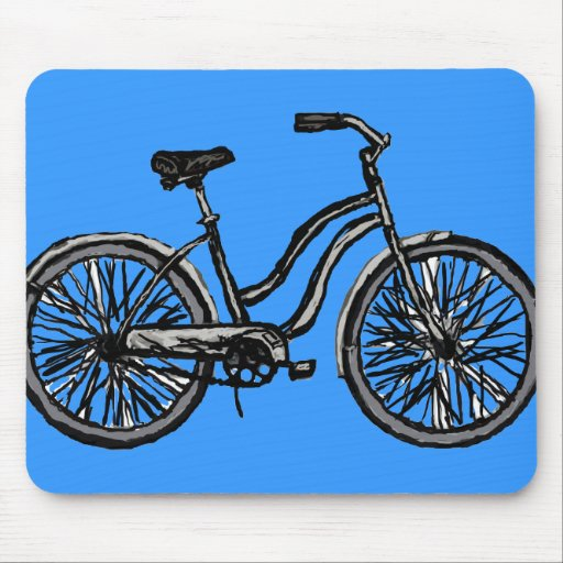 Classic Bicycle, Line Drawing Products Mousepad