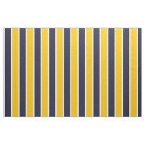 Classic Big Bold Yellow Blue White Stripes Pattern Fabric