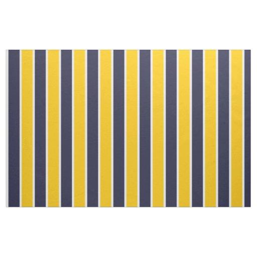 Classic Big Bold Yellow Blue White Stripes Pattern Fabric | Zazzle.com