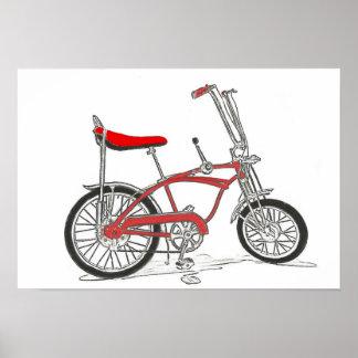 Classic bike Schwinn Stingray banana seat bicycle Poster