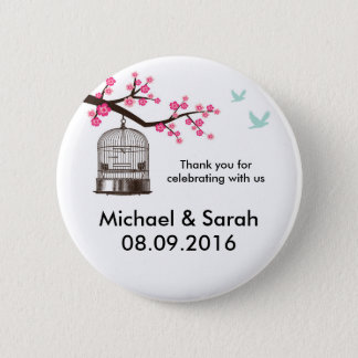 Classic Bird Cage and Pink Flower Thank You Button