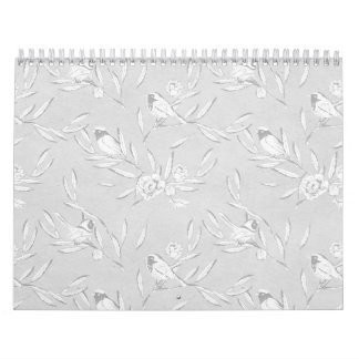Classic Bird on a Branch Gray Monochromatic Print Calendar