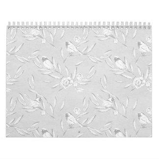 Classic Bird on a Branch Gray Monochromatic Print Calendar