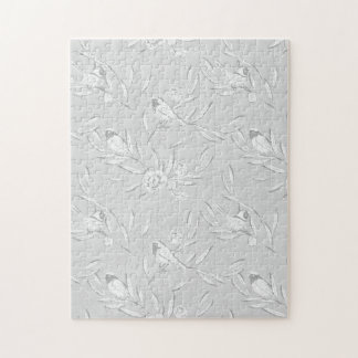 Classic Bird on a Branch Gray Monochromatic Print Jigsaw Puzzle