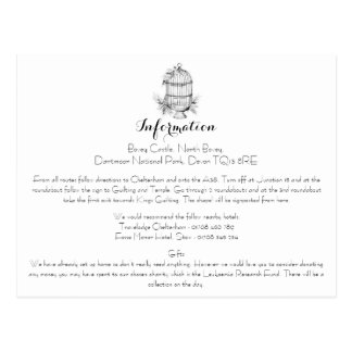 Classic Birdcage Wedding Information Card