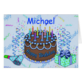 Classic Birthday Cake Invitation For A Man Greeting Card
