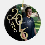 Classic Black 2016 Graduate Photo Double-Sided Ceramic Round Christmas Ornament