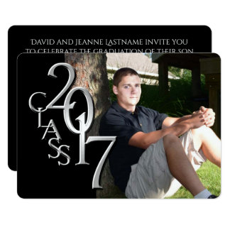Classic Black 2017 Photo Graduation Invitation