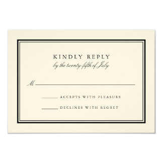 Classic Black and Cream Wedding RSVP Card