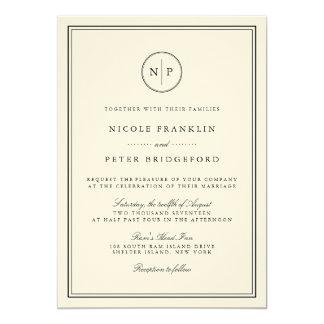 Classic Black and Ecru Monogram Wedding Invitation