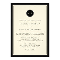 Classic Black and Ecru Monogram Wedding Invitation
