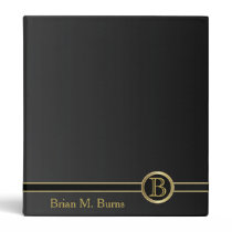 Classic Black and Gold Monogram Design 3 Ring Binder