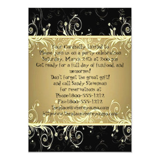 Classic Black and Gold Swirls Dinner Party 5x7 Paper Invitation Card