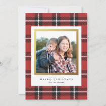 Classic Black and Red Holiday Plaid Photo Card